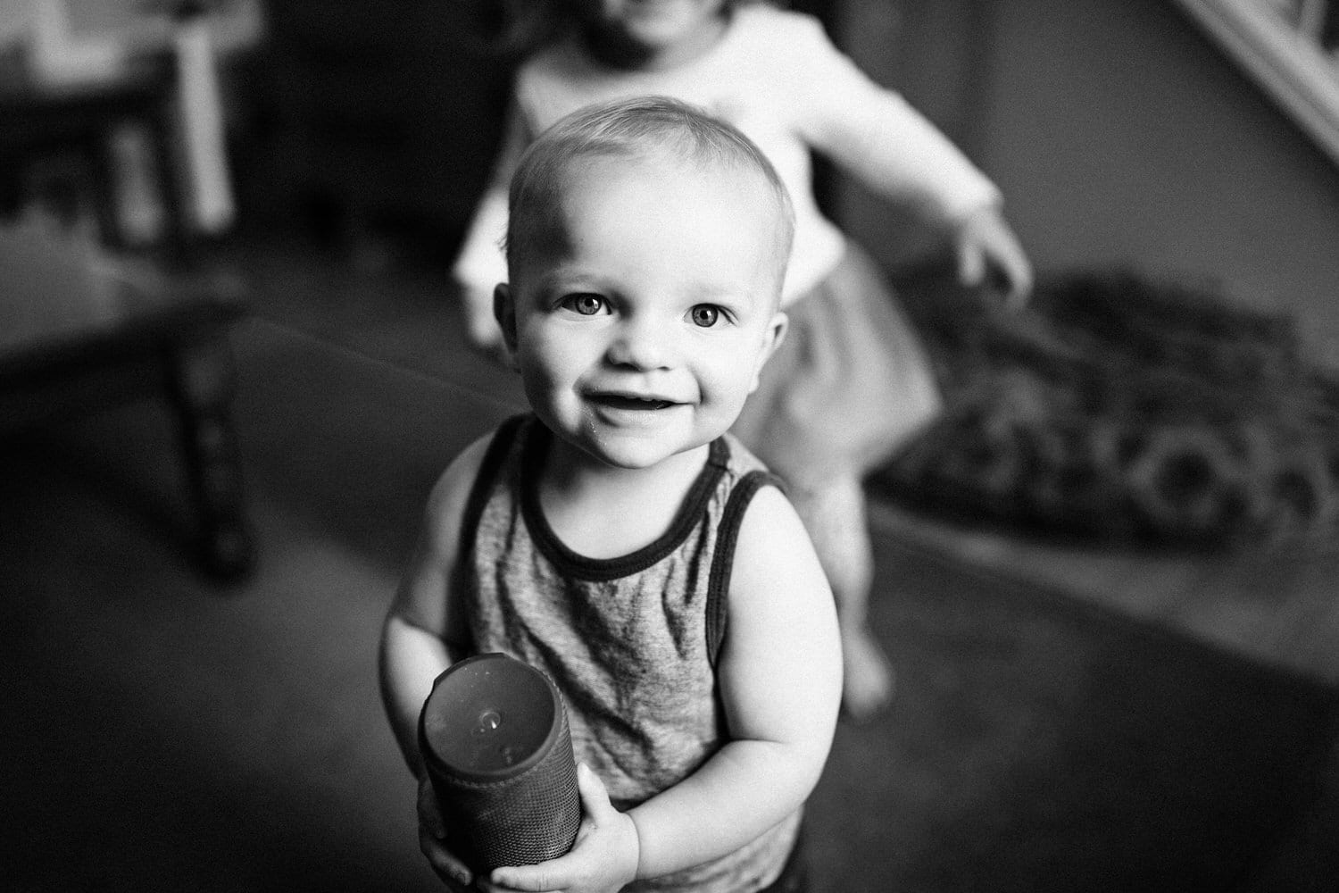 Toddler smiling at the camera during a Calgary on location photography session