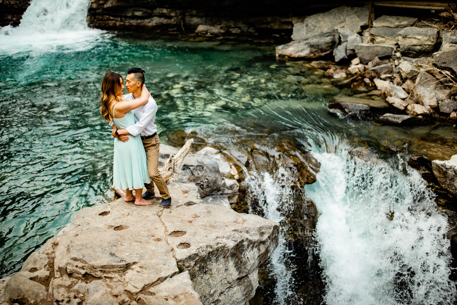 Water flowing in Johnston Canyon during an engagement shoot in Banff National Park