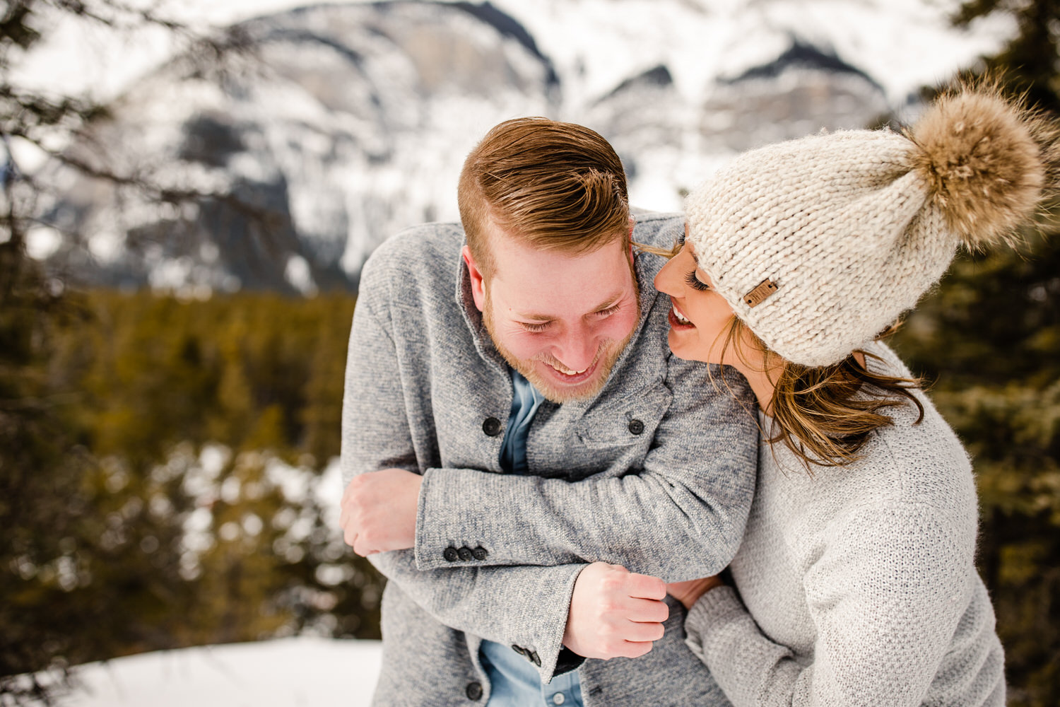 A fun engagement shoot in Banff National Park with snow falling