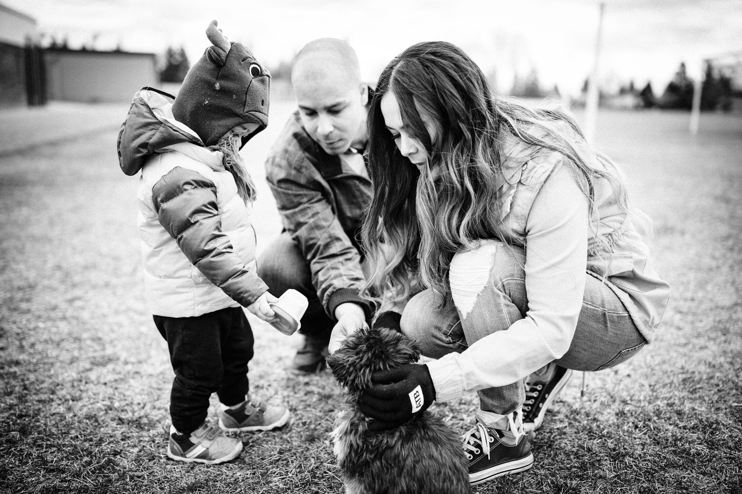family shoot with a toddler in a park by the parents home in Calgary Alberta