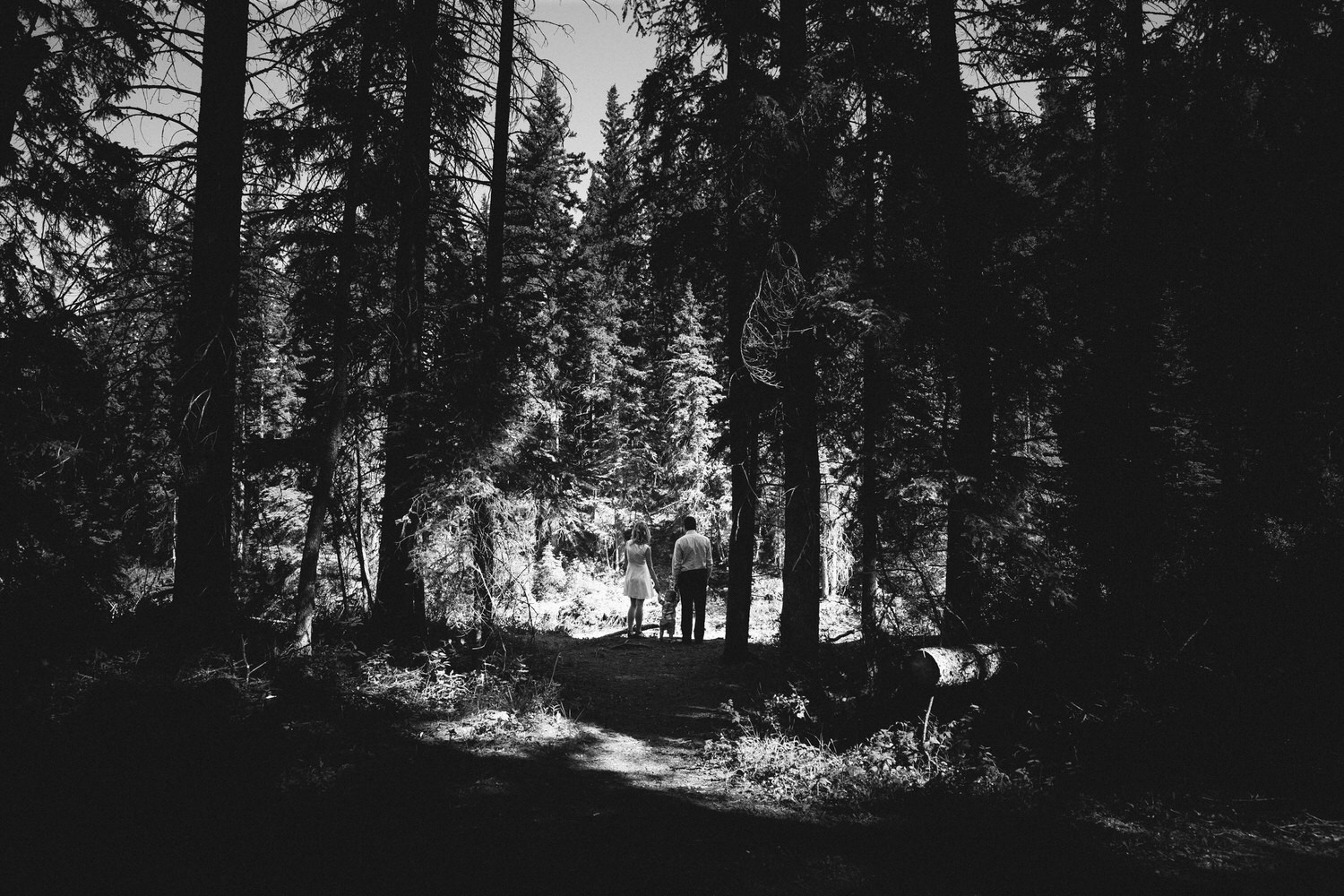 a black and white photograph of a fish creek photo of a family holding hands