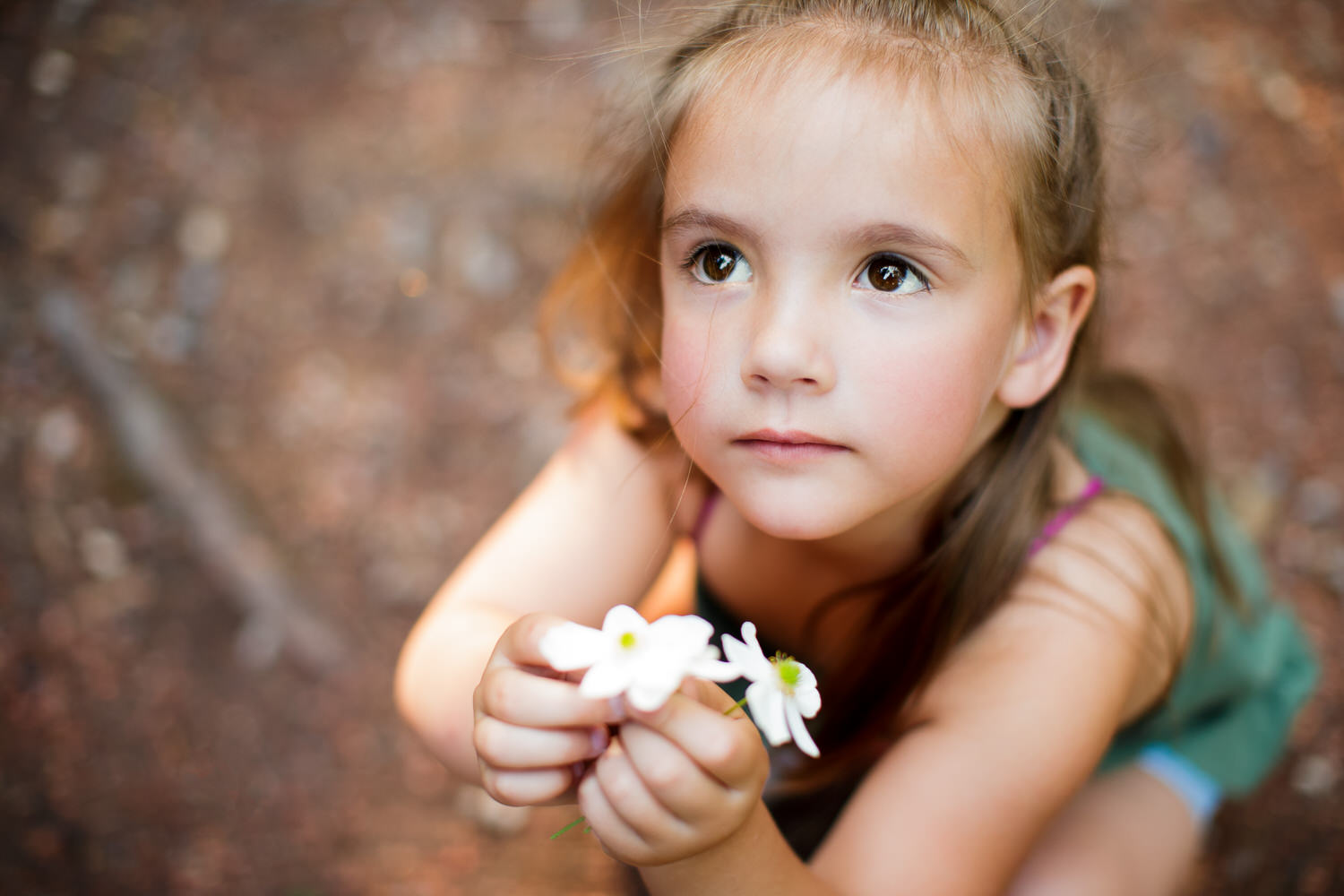 a young girl showing a flower during an outdoor Calgary photography shoot