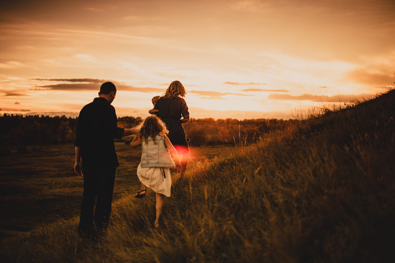a family holding hands during an evening family photography shoot at sunset